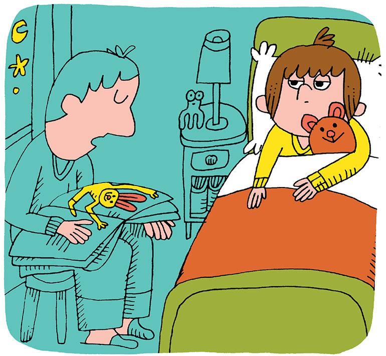 Aider votre enfant à s'endormir et repérer les signes de fatigue - Histoire du soir. Illustration : Charles Dutertre.