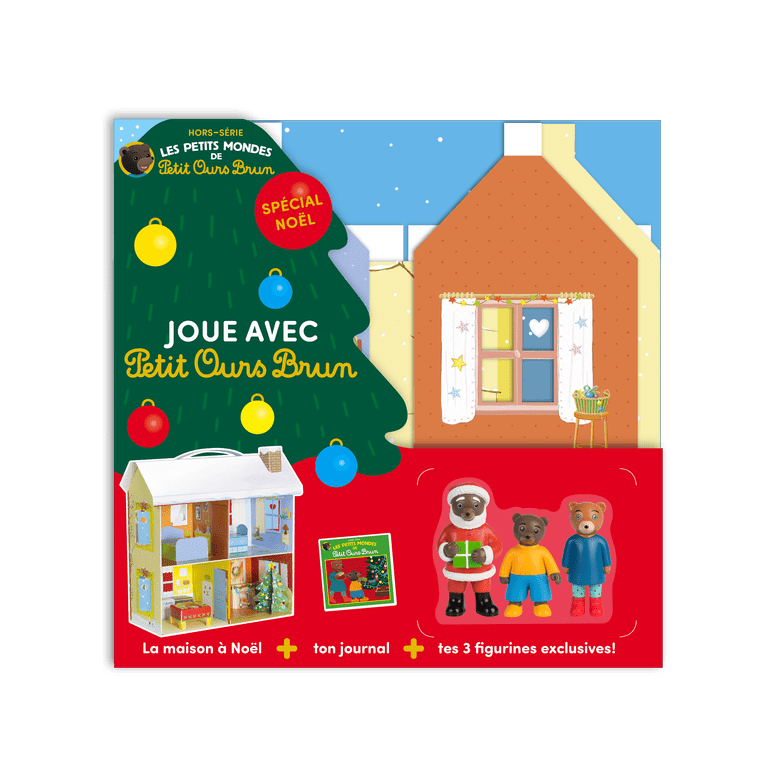 Jouet - Petit Ours Brun -  La maison de Noël et 3 figurines